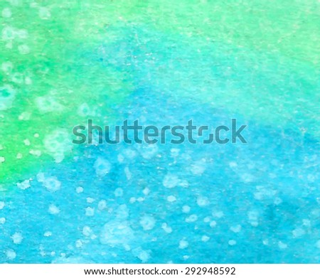 Green blue watercolor hand drawn paper texture background. Wet brush painted smudges and stain abstract vector illustration. Water sea banner. Decorative design card for print, decoration, template - stock vector
