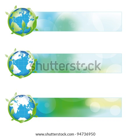 Green, blue, yellow nature banner with green globe