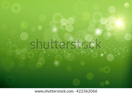 Green blurred background and sunlight, natural green background.