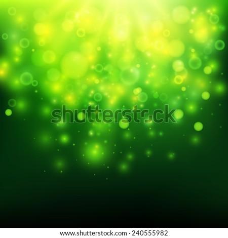 Green bokeh light vector background - stock vector