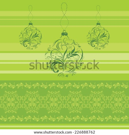 Green border with ornamental Christmas balls. Vector - stock vector