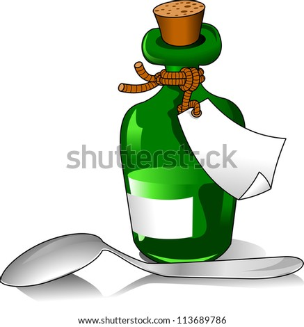 Green bottle of medicine and a small spoon (vector illustration); - stock vector