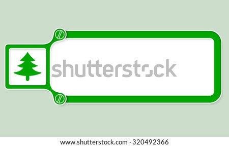 Green box with white frame for your text and tree symbol - stock vector