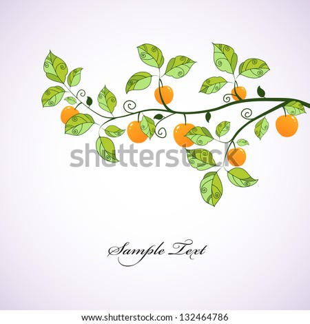 Green branch with apples. Seasonal background. - stock vector