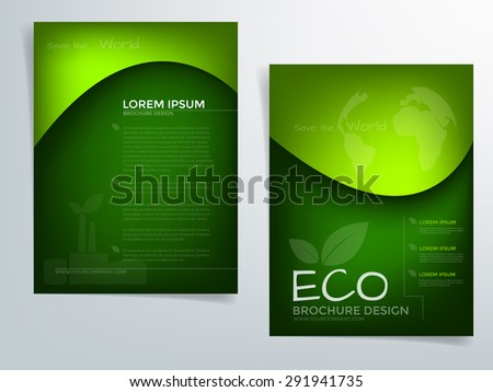 Green Brochure Template Vector Background Flyer Stock Vector