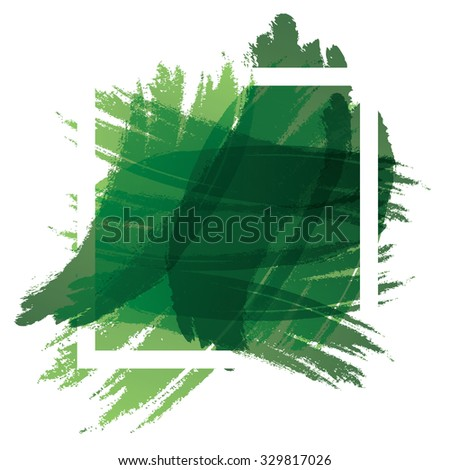 green brush with frame  - stock vector