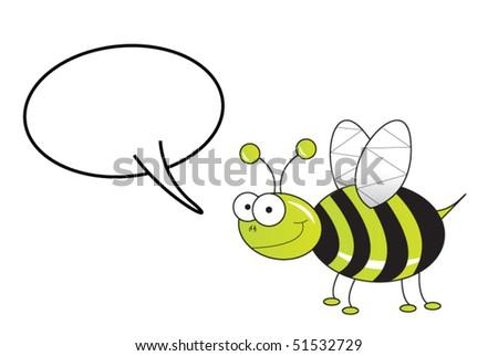 green bug speaking - stock vector
