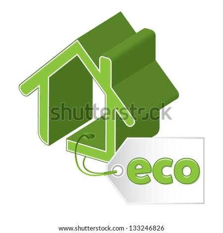 Green building concept, vector illustration - stock vector