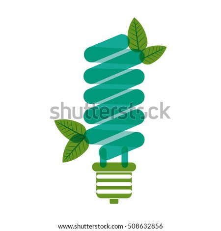 green bulb fluorescent with leaves