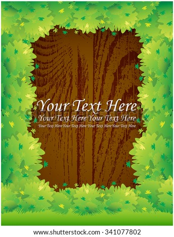 Green bushes on wooden board - stock vector