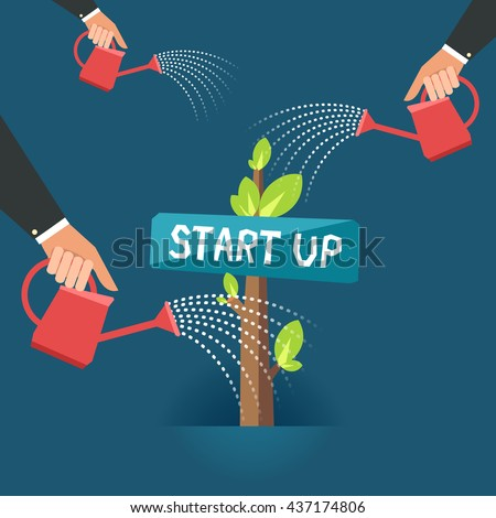 """Green Business growth concept. A lot of human hands with cans watering """"START UP"""" tree. Vector colorful illustration in flat style - stock vector"""