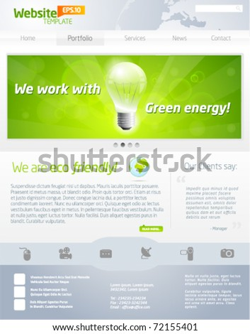 Green business website template payout - stock vector
