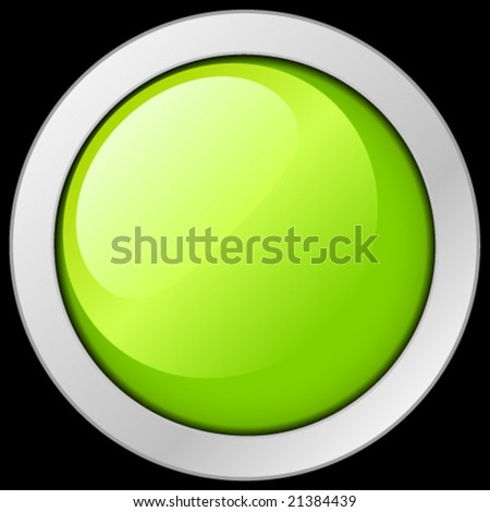 Green button or icon. Vector Illustration