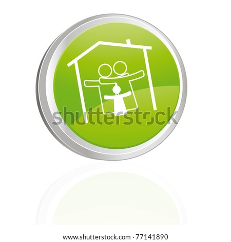 Green button with family symbol - stock vector