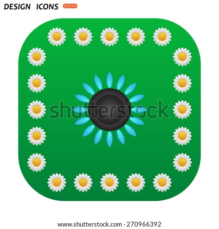 Green button with white daisies for mobile applications. gas burner gas stove. icon. vector design - stock vector