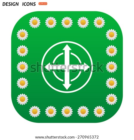 Green button with white daisies for mobile applications. Remote controller's dial, knob, joystick template. icon. vector design - stock vector