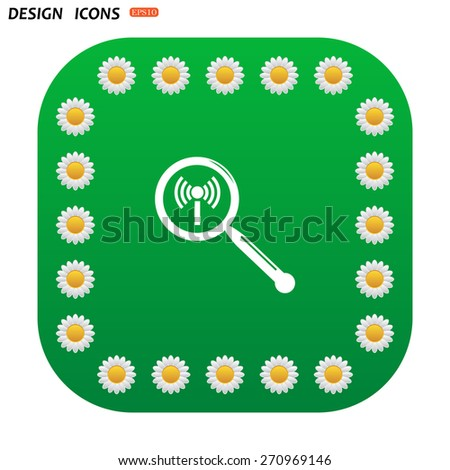Green button with white daisies for mobile applications. Search wi-fi network. icon. vector design - stock vector