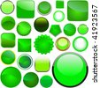 Green buttons for design. Vector set. - stock vector