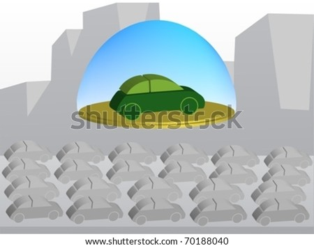 Green car flying on a golden platform above a polluted city with a crowd of grey cars - stock vector