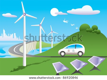 Green car  is traveling among green energy sources - vector illustration - stock vector