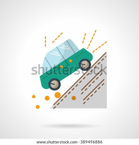 Green car moving down the slope. Accident in a mountains. Auto insurance concept.  Flat color style vector icon. Web design element for site, mobile and business. - stock vector