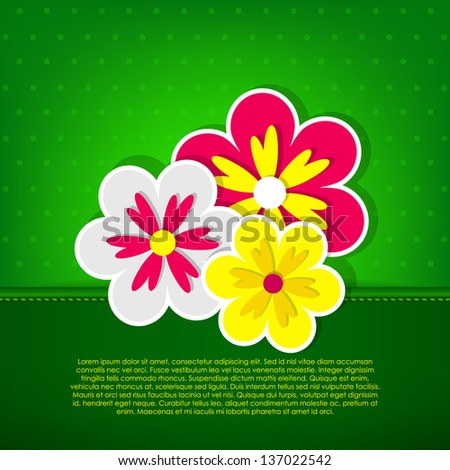 Green card with three flowers. Vector version. - stock vector