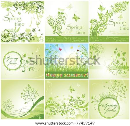 Green cards - stock vector