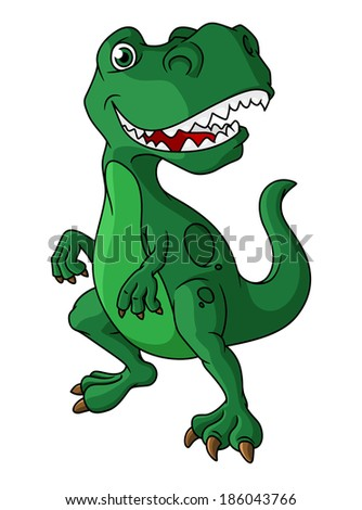 Green cartoon dinosaur with a mouth full of sharp teeth standing upright isolated on white - stock vector