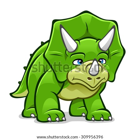 Green cartoon horned dinosaur Triceratops isolated on white.