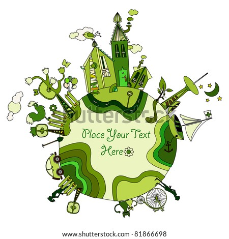 green cartoon planet with space for your message - stock vector