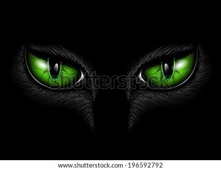 green cat's eyes - stock vector