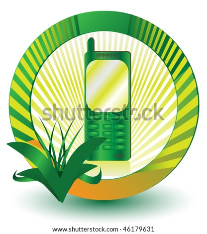 Green Cellular Phone Icon - stock vector