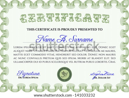 Green certificate diploma coupon template very stock vector green certificate diploma or coupon template very complex border design yadclub Image collections