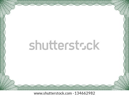 Green certificate or diploma frame - stock vector
