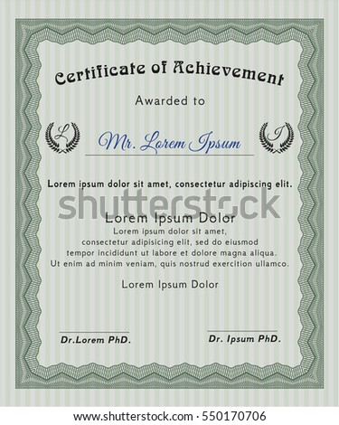Green Certificate template. Retro design. With guilloche pattern. Customizable, Easy to edit and change colors.