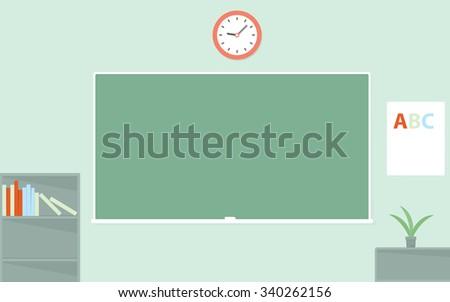 Green chalkboard. Empty schoolroom - stock vector