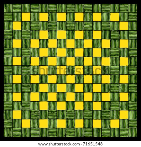 green check board carpet drawing - stock vector