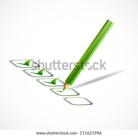 Green check list. Vector - stock vector
