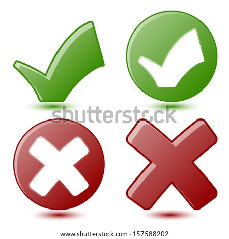 Green Check mark and Red X Symbols - stock vector