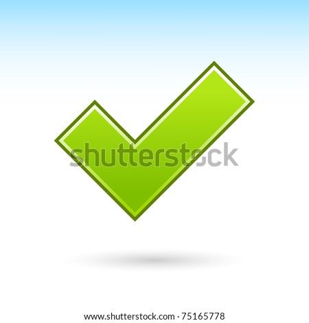 Green check mark icon web 2.0 button with gray drop shadow on white background - stock vector