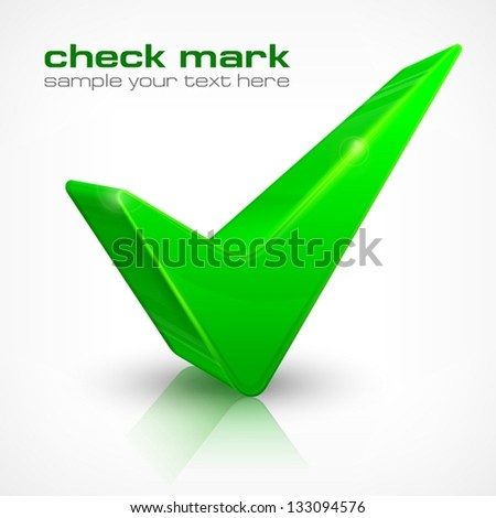 Green check mark isolated on white, vector illustration. Vector Illustration.