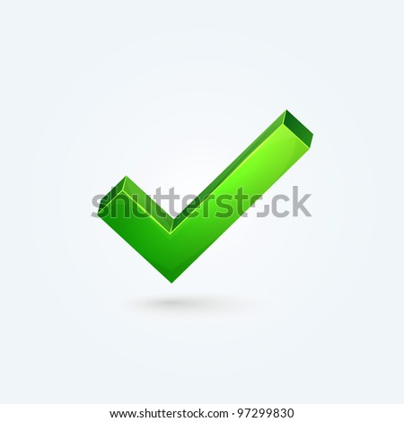 Green check mark on isolated background - stock vector