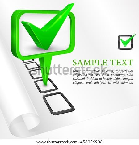 Green check mark on white vector illustration - stock vector