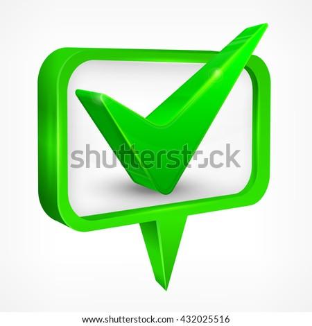 Green check mark on white vector illustration.  Business icon, symbol  - stock vector