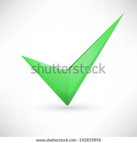 green checkmark. - stock vector