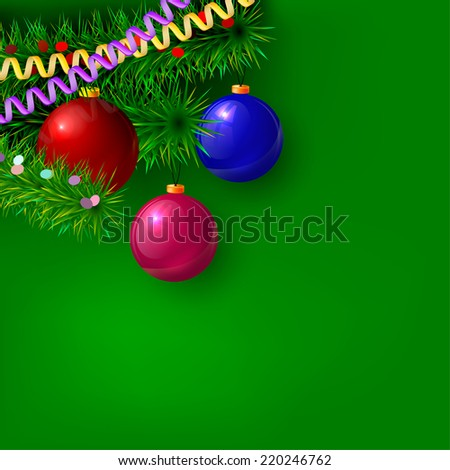 Green Christmas background with branches of trees, serpentine, confetti and decorations. Vector illustration.  - stock vector