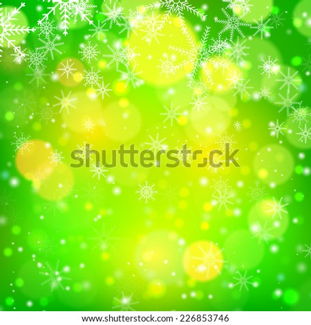 Green Christmas background with light, bokeh and snowflakes. Vector illustration - stock vector