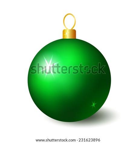 Green christmas ball - stock vector