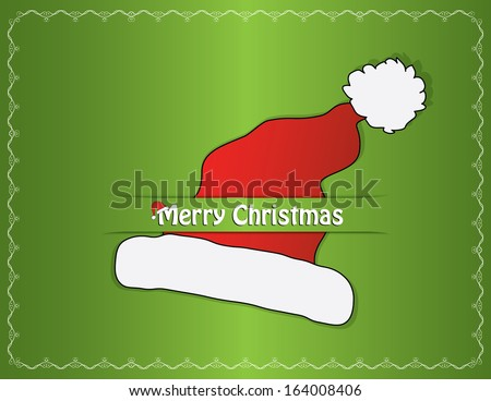 Green christmas card design with red santa hat and white swirl frame. Abstract easy to edit eps10 vector illustration. Raster image available in my portfolio. - stock vector
