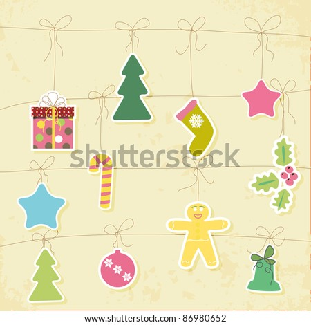Green Christmas card with balls, stars, gift - stock vector